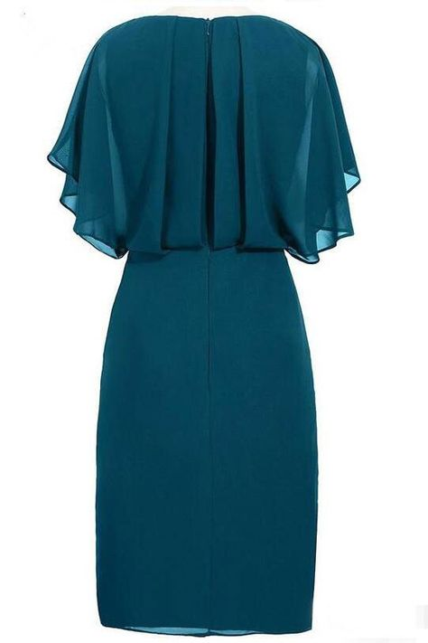 Flutter Sleeves Beading Teal Mother of the Bride Dress with Slit