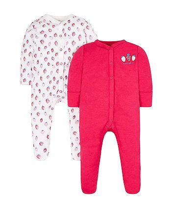 2 Pack British Made for Boys or Girls All in One Baby Cotton Sleepsuits