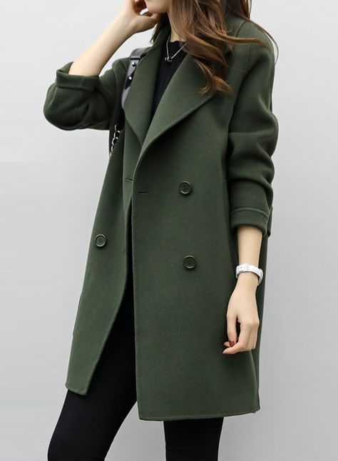 Fashion Solid Long Sleeve Double Breasted Coat | Coats for