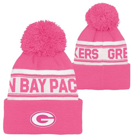 85bafda8 Green Bay Packers Girls Pink Cuff Knit Hat   Green Bay Packers Hats ...