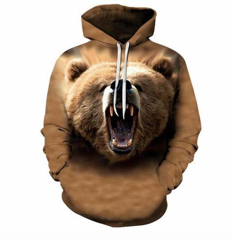 ZOOTOP BEAR Unisex 3D Eyes Design Printed Pullover Long Sleeve Fleece Hooded Sweatshirts with Pockets