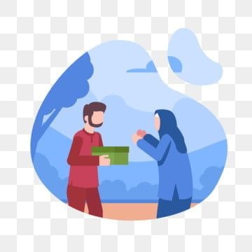 Muslim Men Give Alms To Muslim Women People Muslim Islam Png And Vector With Transparent Background For Free Download Islamic Cartoon Muslim Men Character Illustration