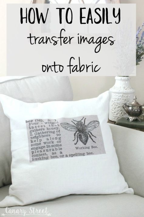 How to easily transfer images onto fabric. Make these easy DIY throw pillows using a simple technique for transferring images onto fabric. Fabric Painting, Fabric Art, Fabric Crafts, Sewing Crafts, Sewing Projects, Paper Crafts, Freezer Paper Transfers, Transfer Paper, Diy Projects To Try