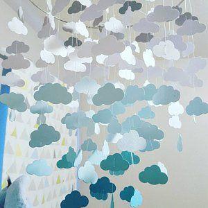 Petroltürkisaqua Wolken Mobile Kindergarten Mobile