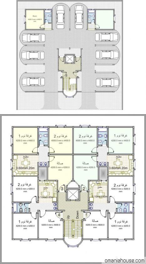 مخطط عماره ٤ شقق مع جراج My House Plans Floor Plan Design New House Plans