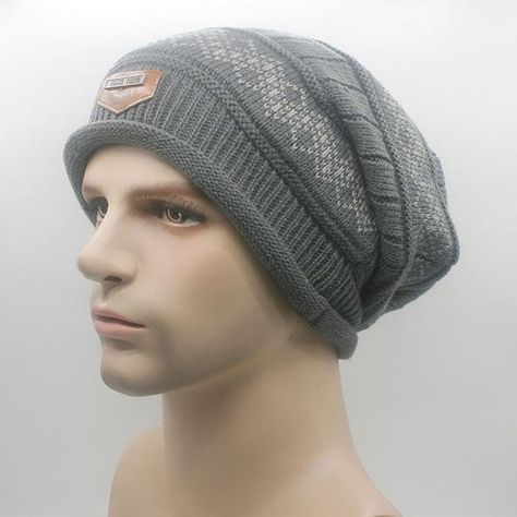 08797fc8c0b New Warm Fashion Men Knit Baggy Beanie Winter Hat Ski Slouchy Chic Knitted  Cap Skull-448E
