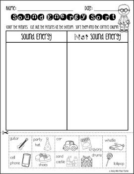 Sound Energy Sort, Forms of Energy Worksheet {K, 1, 2 ...