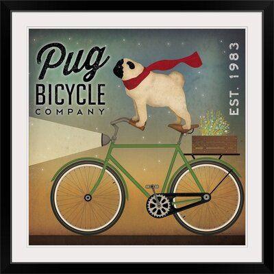 Great Big Canvas Pug On A Bike By Ryan Fowler Vintage Advertisement Format Black Frame Size 20 H X 20 W X 1 D Bike Art Print Pugs Bike Poster