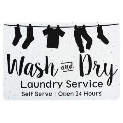 Modern Wash Dry Laundry Service Clothesline Floor Mat Zazzle