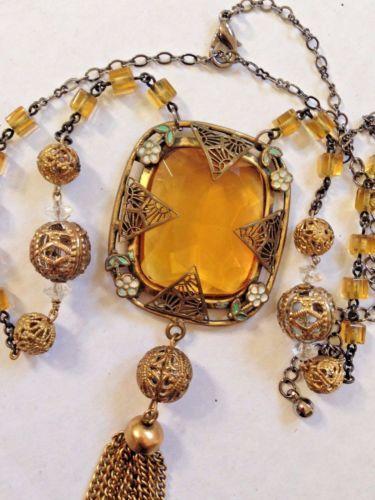 Vintage Art Deco Cheshskogo Hrustalya Zolotoj Topaz Yantar Ochistka Ozherele Filigran Emal Classic Jewelry Antique Jewelry Czech Glass Jewelry