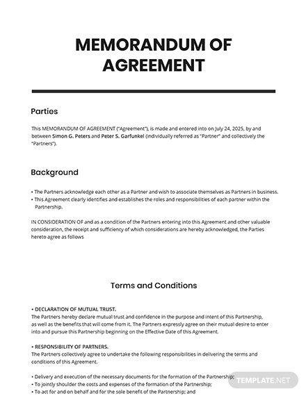 9 Free Declaration Agreement Templates Edit Download Template Net Memorandum Agreement Word Doc