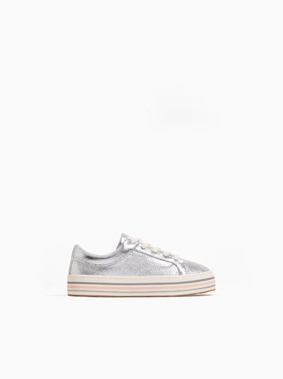 Zara Unisex Striped Sole Sneakers Silver 10 6 6 Inches Sneaker Schuhe Fur Madchen Kinder Schuhe