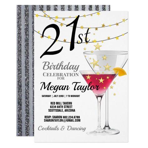 21st Birthday Party, Martini Glasses & Stripes Invitation #Ad , #Sponsored, #Martini#Party#amp#Glasses