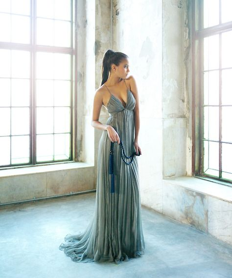 Beautiful vaporous Leila Hafzi gown.