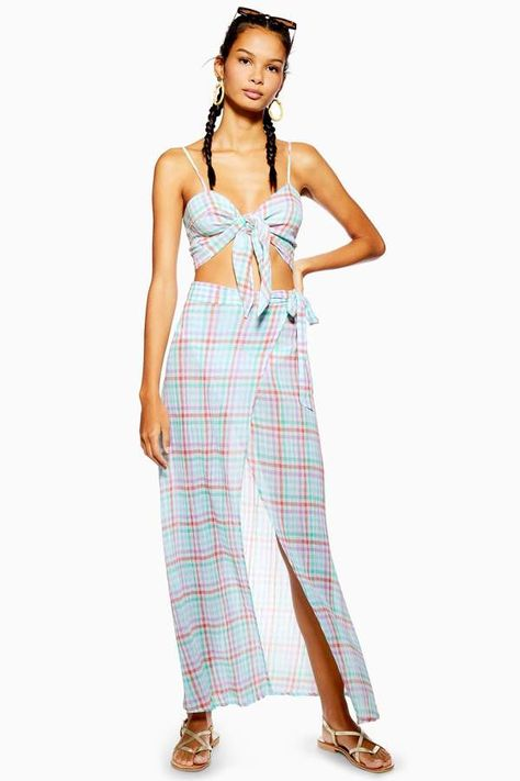 Topshop Gingham Wrap Beach Skirt    Source by ShopStyle #beach #Beach skirt #Gingham #skirt #wrap