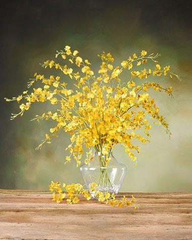 Oncidium Orchid Silk Flower Stem Yellow Oncidium Orchids Yellow Flower Arrangements Tall Flower Arrangements
