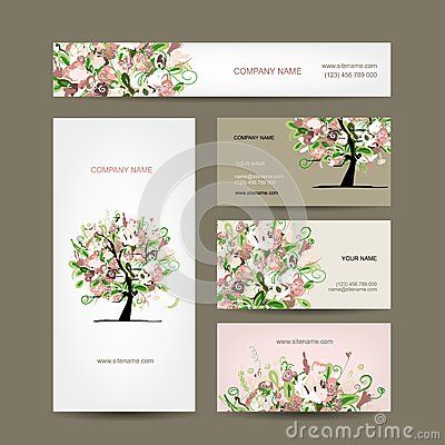 Conception De Cartes Visite Professionnelle Avec Le Croquis Floral D Arbre