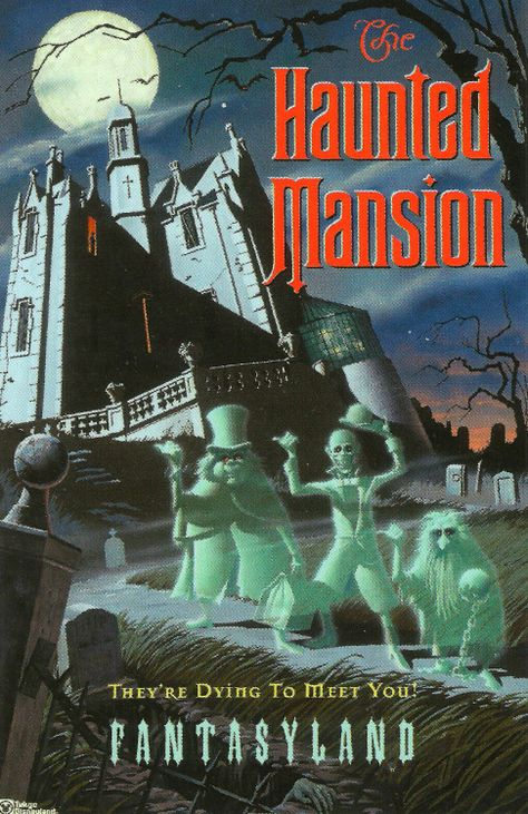 Tokyo Disneyland poster for their Haunted Mansion, which is nearly identical inside and out to the one in WDW- except that it's location is FANTASYLAND! The HM is the only Disney attn to appear in a different land in every park! Vintage Disney Posters, Vintage Disneyland, Tokyo Disneyland, Vintage Cartoon, Disneyland Sign, Disneyland Birthday, Disneyland Photos, Vintage Mickey, Disney Theme