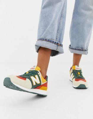 New Balance 574 Colourblock Canvas Trainers Balance Canvas Colourblock Trainers Genel Sneakers New Balance 574 New Balance New Balance Shoes