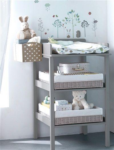 Boîte de rangement spéciale table à langer TAUPE / POIS BLANC - vertbaudet enfant