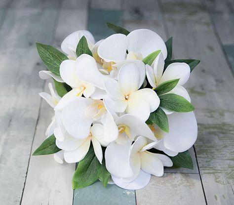 Bouquet Sposa Spiaggia.Orchidee Bianche Da Sposa E Bouquet Da Sposa Di Seta Plumerias