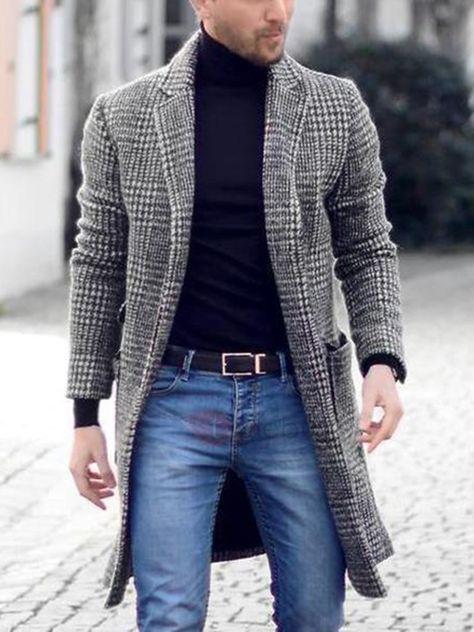 Manteau Homme en Laine Mélangée Carreaux Slim Mode: Tidebuy.com