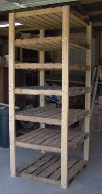 Heavy-duty cheap shelves: 2x4 uprights with pallets as shelves. Use bolts, not screws, and at least 1 diagonal brace to prevent leaning.