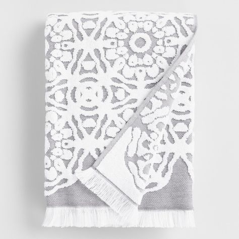 Gray And White Sculpted Medallion Kasidy Bath Towel Gray And
