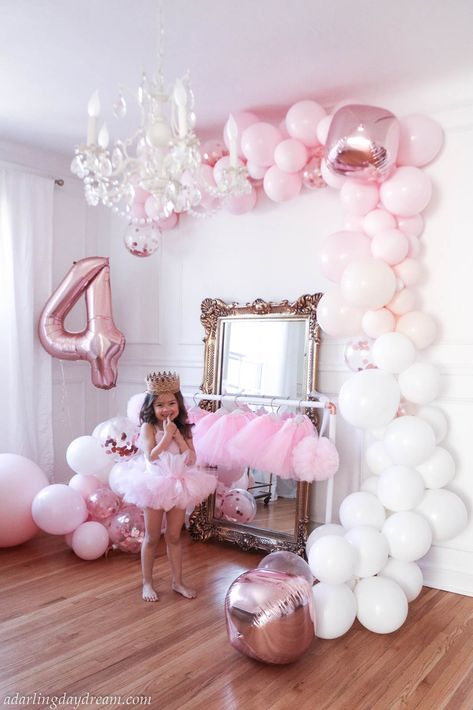 Bella's Ballerina and unicorn birthday party. It's filled with so many DIY's including a ballet bar and tulle pom poms, matte balloon garland. Ballerina Birthday Parties, Girl Birthday Themes, Unicorn Birthday Parties, Birthday Balloons, Birthday Decorations, Ballerina Party Decorations, 5th Birthday, Birthday Photography, Food Photography