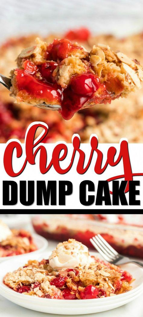 Want a simple cherry dump cake recipe you'll love again and again? This one is the best! Yellow cake mix combines with cherry pie filling, making it both quick and tasty. When topped with cool and creamy vanilla ice cream, you have a decadent, bubbly, warm dessert that everyone will rave about. And you'll be raving about how fast you can bake it — perfect for last minute guests or family gatherings. #cherrycake