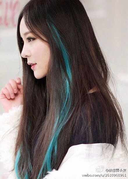 Image Result For Blue Streaks In Hair Hair Color Streaks Hair