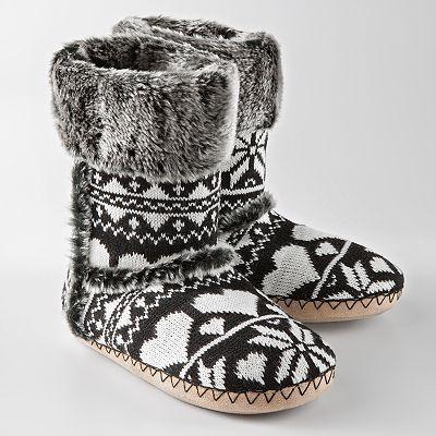 Black & White Slipper Boots w/ Hearts