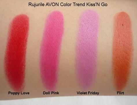 Rujurile AVON ColorTrend Kiss'N Go: Violet Friday, Doll Pink, Flirt, Poppy Love