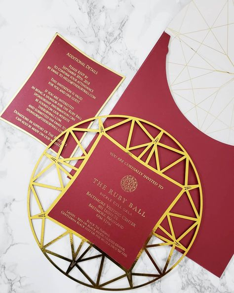 The Invitation We Created For Therubyball Needless To Say It Is Inspired By The Ruby Logo Thanks To Ev Custom Invitations Invitations Wedding Invitations