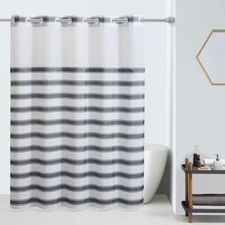 Hookless Farm House Stripe Shower Curtain And Liner Kohls Striped Shower Curtains Hookless Shower Curtain Shower Curtain