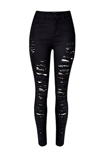 WSPLYSPJY Womens Butt Lifting Skinny Destroyed Ripped Stretch Denim Pants