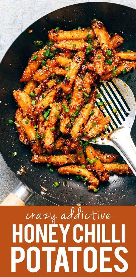 crispy honey chilli potatoes are a super addictive snack fried potato finge