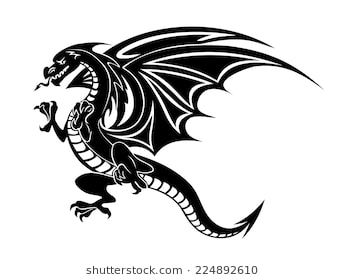 Angry Black Dragon Tattoo Isolated On White Background Vector Illustration Black Dragon Tattoo Dragon Tattoo Black Dragon