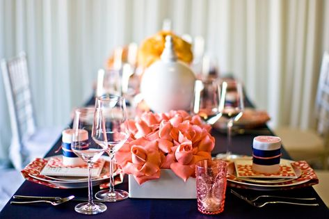 Coral & Navy Tablesetting