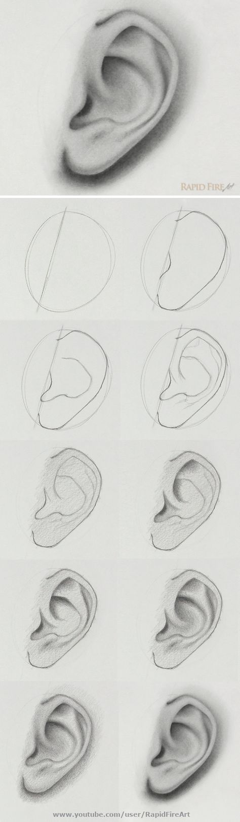 the step-by-step video tutorial here: /… How to draw an ear from the side view Watch the step-by-step video tutorial here: /… How to draw an ear from the side view Body Drawing Tutorial, Eye Drawing Tutorials, Drawing Techniques, Drawing Tips, Drawing Ideas, Art Drawings Sketches Simple, Pencil Art Drawings, Realistic Drawings, How To Shade Drawings