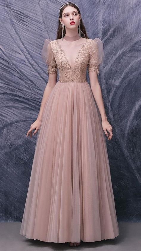 Nude Pink Lace Prom Dresses