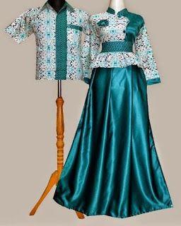 90+ Model Baju Batik Gamis Kombinasi Polos HD