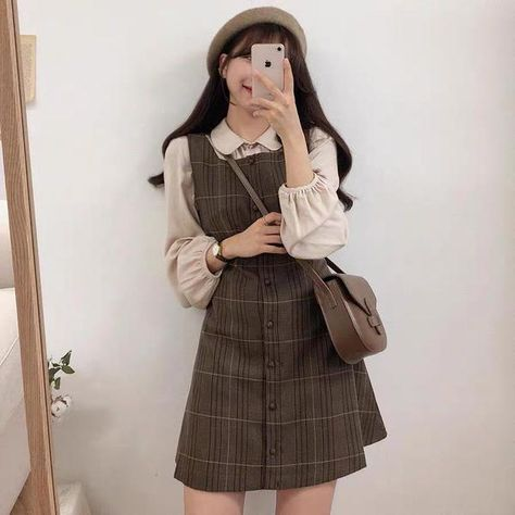 Retro Plaid Suspender Dress