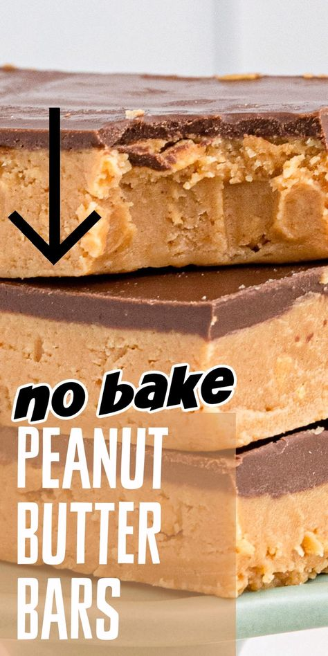 If you love the combination of chocolate and peanut butter, these no-bake chocolate topped peanut butter bars are for you. Easy to make and ready to eat in less than 30 minutes! #amandascookin #peanutbutterbars #dessertrecipes