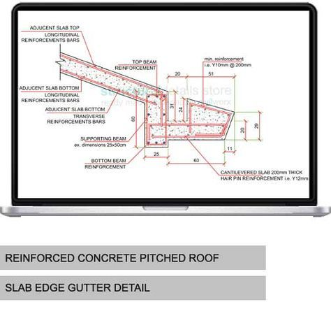 Concrete Pitched Roof Slab Edge Gutter Detail Concrete Roof Pitched Roof Roof Construction