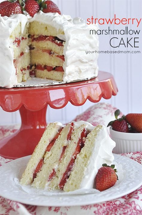 Strawberry Marshmallow Cake! This cake is so pretty and delicious.