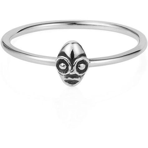 Lee Renee Silver Tiny 'Voodoo Ghede' Ring ($63) ❤ liked on Polyvore featuring jewelry, rings, stackable rings, silver jewelry, silver stacking rings, stackers jewelry and silver rings