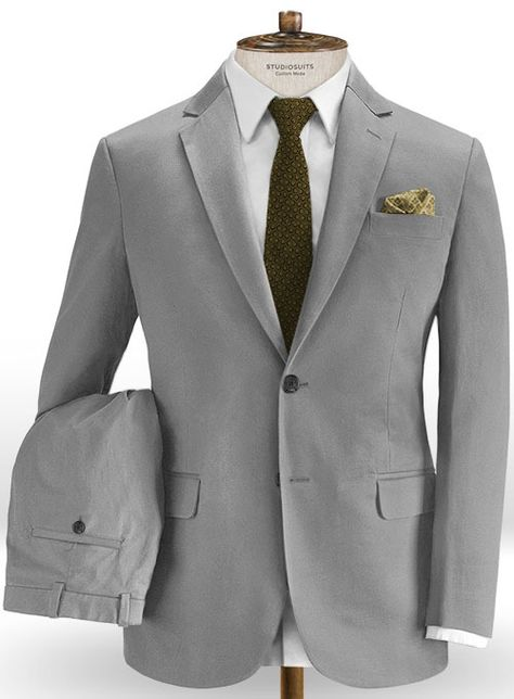 Express yourself with our Gray Stretch Chino Suit that represents individuality.  #studiosuits #suit #cotton #gray #graysuit #mensfashion #menswear #mensstyle #style #classymen #gentleman style #mens fashion smart #casual #suitjacket #mensattire #gentlemanstyle #mens fashion smart #menscasual #bespoke #custom