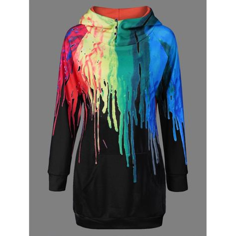 Oil Paint Over Print Rainbow Hoodie - Black Xl Mobile