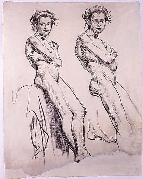 Studies of a Young Female Nude  Augustus (Edwin) John (Tenby 1878–Fordingbridge, Hants 1961)